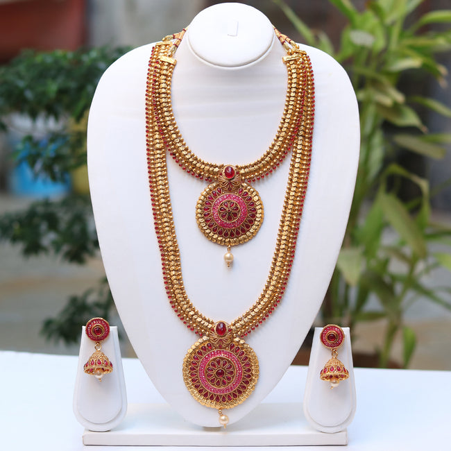 Flashy Maroon Color With Meenakari Haram Set