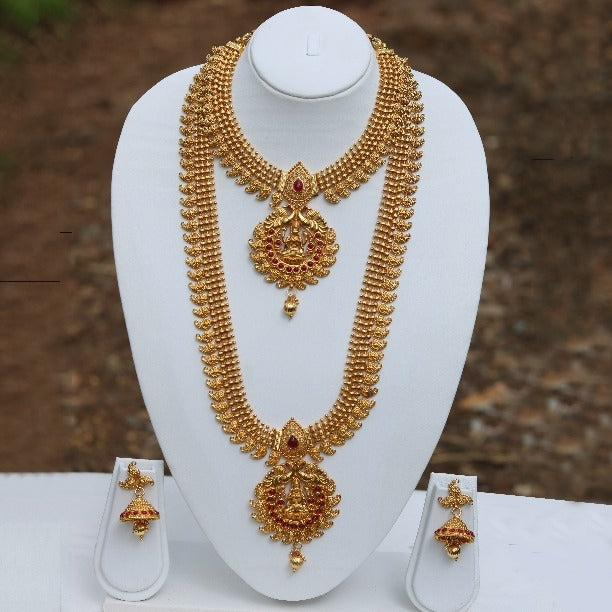 Gold Plated Laxmi Green Maroon Ruby Haram Necklace Set