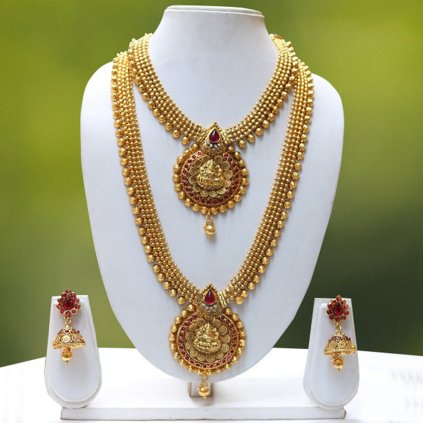 Wedding Gold Plated Long Haram Wedding Necklace with Jhumki Earring Set