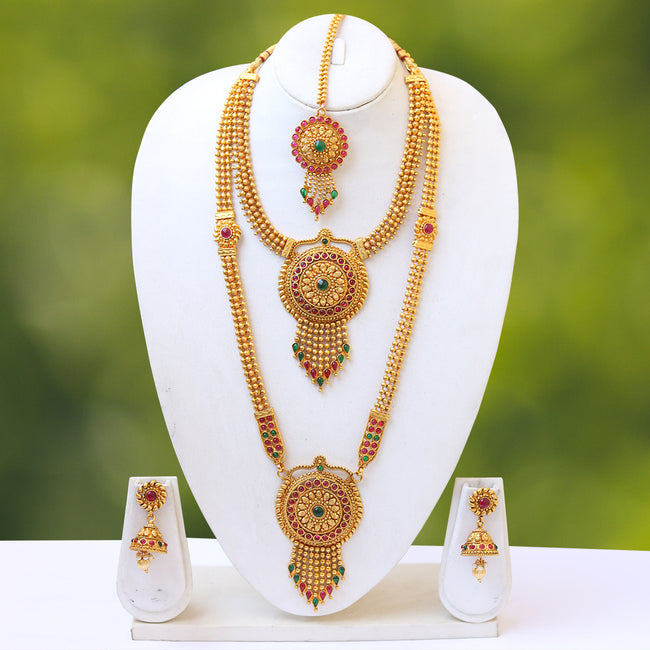 South indian traditional Antique Green Maroon kundan haram set