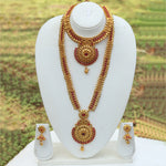 Amazing Bridal Look Gold Plated Long Haram Wedding Necklace with Jhumki Earring Set