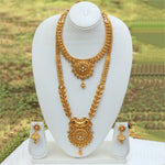 Amazing Semi Bridal Gold Plated Long Haram Wedding Necklace with Jhumki Earring Set