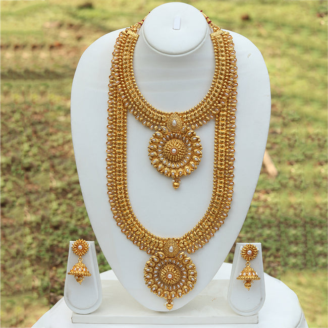 Amazing Bridal Gold Plated Long Haram Wedding Necklace with Jhumki Earring Set