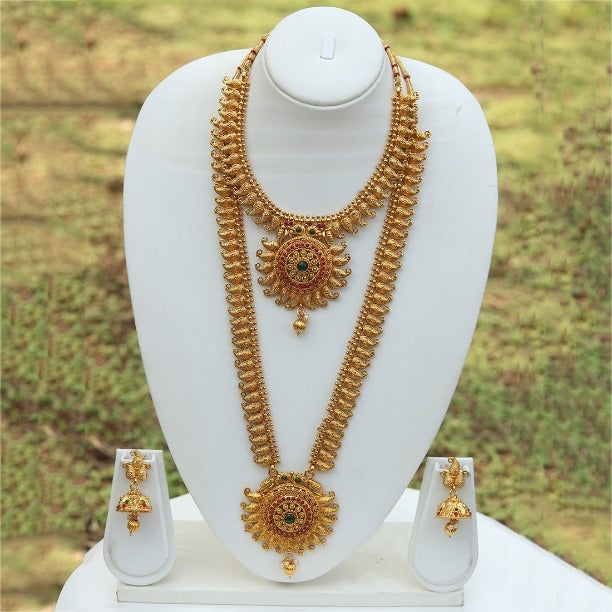 Bridal Gold Plated Long Haram Wedding Necklace with Jhumki Earring Set