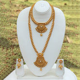 Amazing Gold Plated Long Haram Wedding Necklace with Jhumki Earring Set