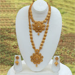 Beautiful Gold Plated Long Haram Wedding Necklace with Jhumki Earring Set