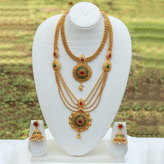 Gold Plated Long Haram Wedding Necklace with Jhumki Earring Set