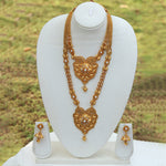 Beautiful Antique Gold Plated Mangalsutra Style Haram Wedding Necklace with Jhumki Earring Set