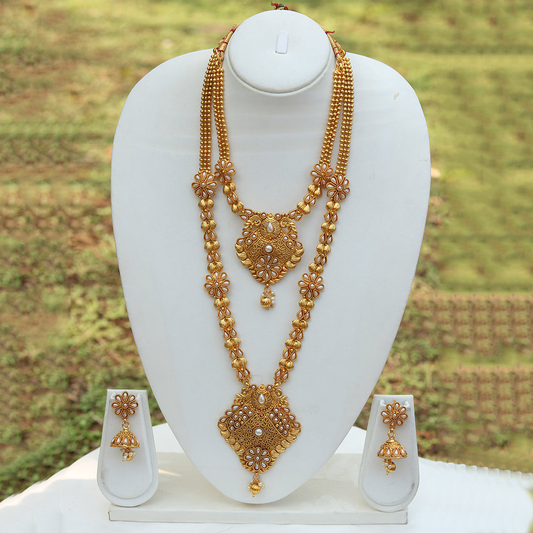 Beautiful Antique Gold Plated Design Haram Wedding Necklace With