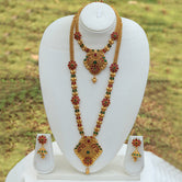 Beautiful Antique Gold Plated Design Haram Wedding Necklace with Jhumki Earring Set