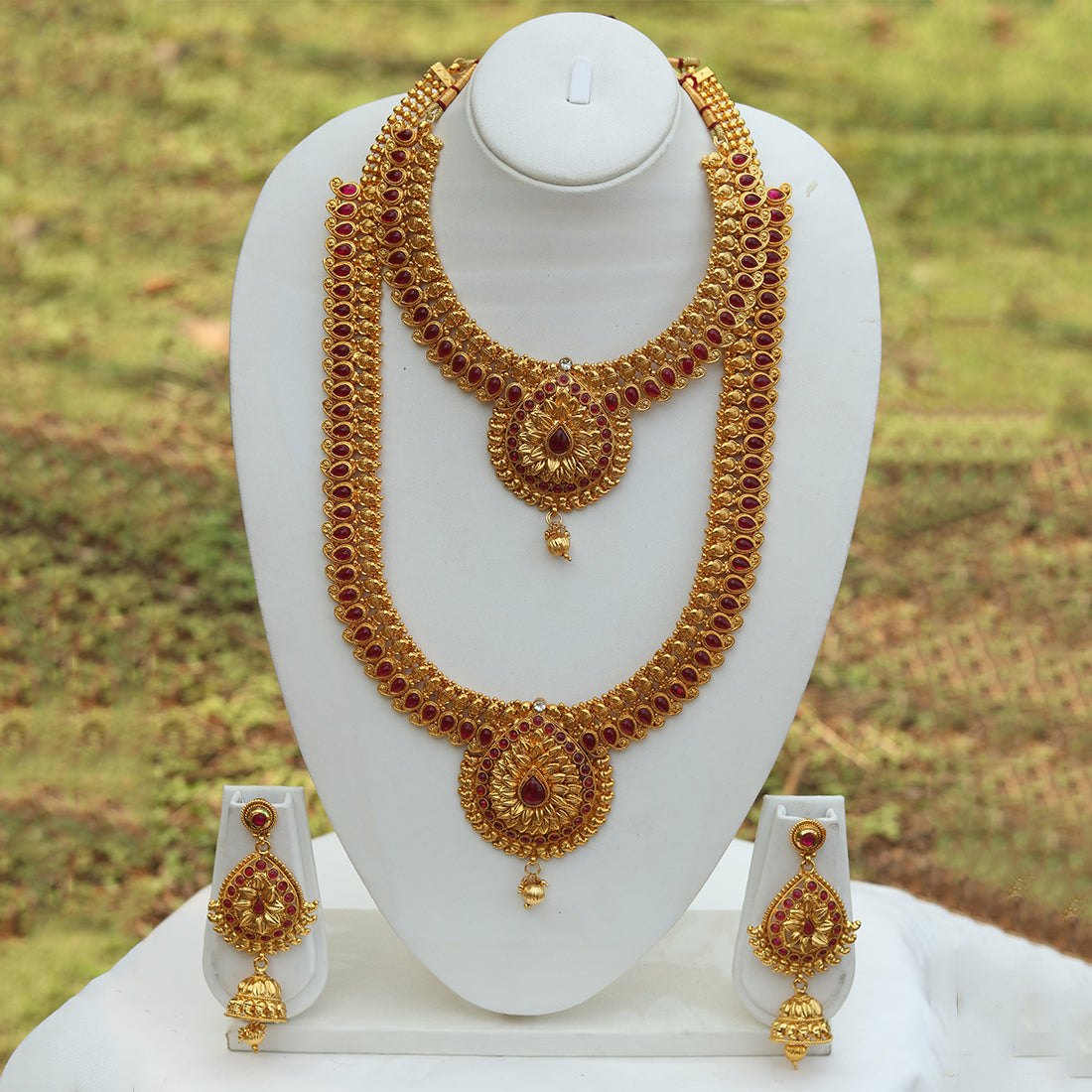 Heavy Antique Gold Plated Design Haram Wedding Necklace With