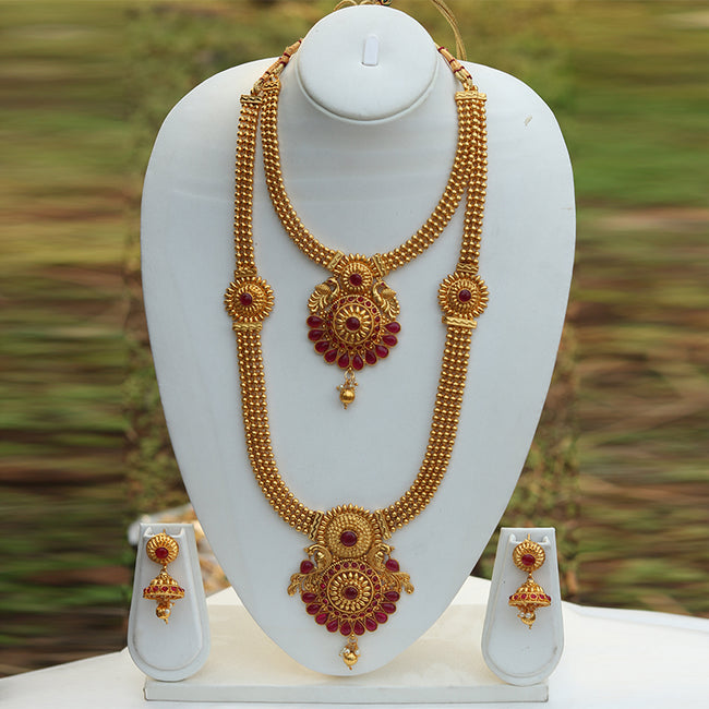 Heavy Antique Gold Plated Peacock Design Haram Wedding Necklace Set