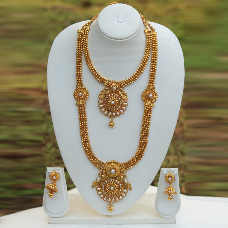 Heavy Antique Gold Plated Peacock Design Haram Wedding Necklace