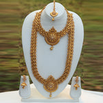 Heavy Antique Gold Plated Peacock Design South Indian Fashion Jewellery Haram Wedding Necklace Set