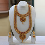 Gold Plated Antique Haram Rani Haar Long Necklace Set With Jhumki Earrings