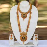 Traditional South Long Copper Haram Combo Necklace Jewellery Set