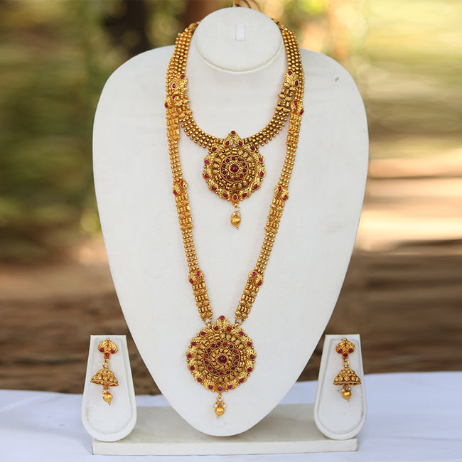 Beautiful Round Gold Plated Wedding Haram Semi Bridal Necklace Set