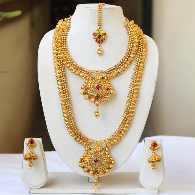 Beautiful Gold Plated Green Maroon Haram Semi Bridal Necklace Set