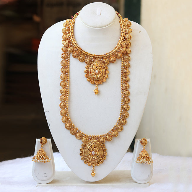 Handmade South Indian Traditional Semi Bridal Haram Necklace Set