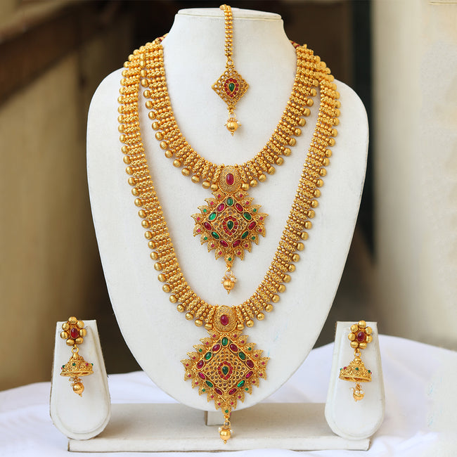 South Indian Traditional Gold Pendant Haram Semi Baridal Necklace Set