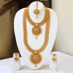 South Wedding Gold Plated Haram Semi Bridal Necklace Set