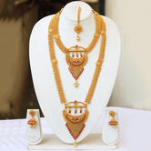 Beautiful Gold Plated Haram Semi Baridal Necklace Set
