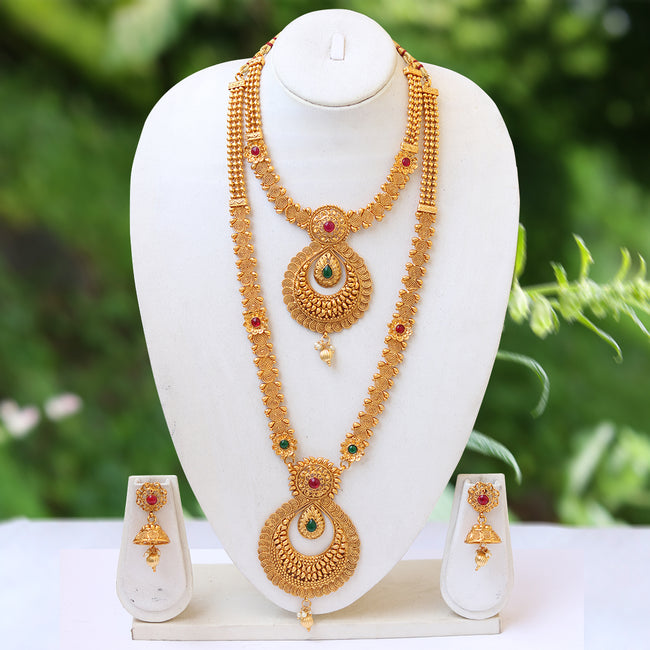 South Indian Gold Plated Ruby Haram necklace Set