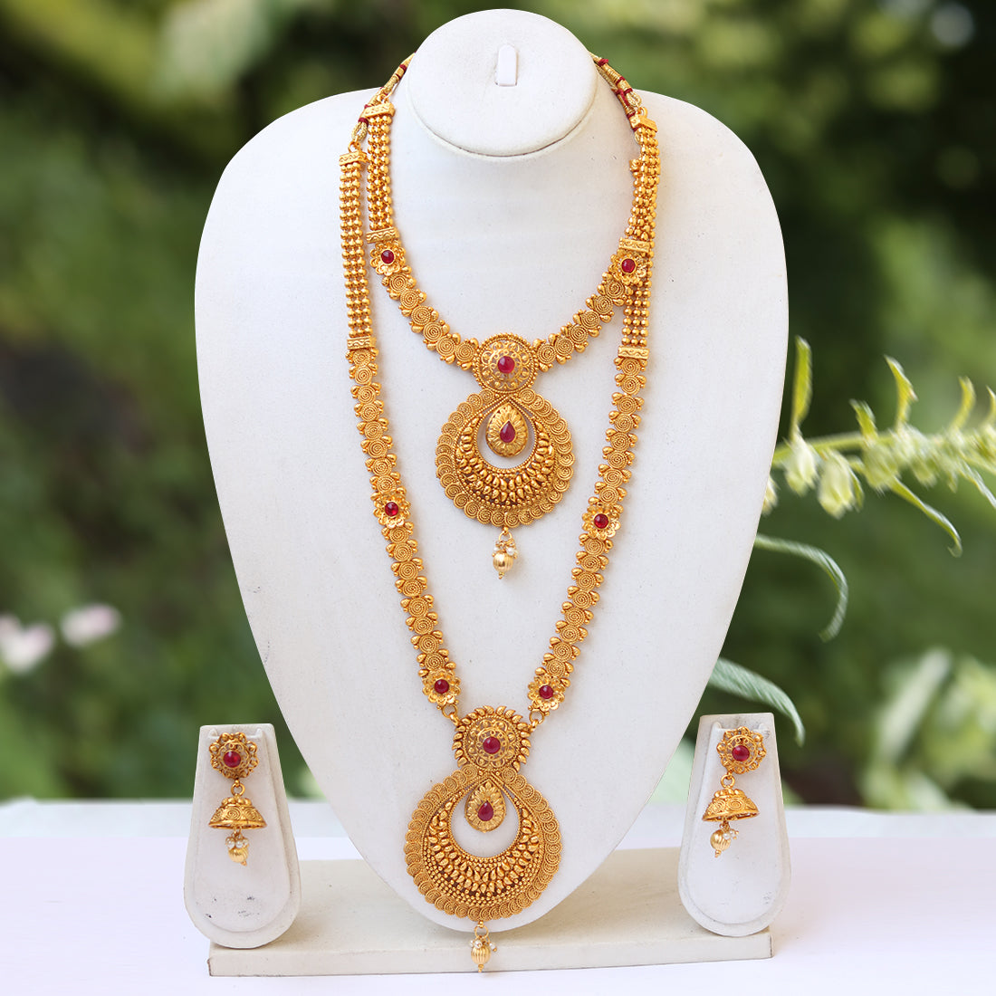 South Indian Gold Plated Ruby Haram Necklace Set Look Ethnic