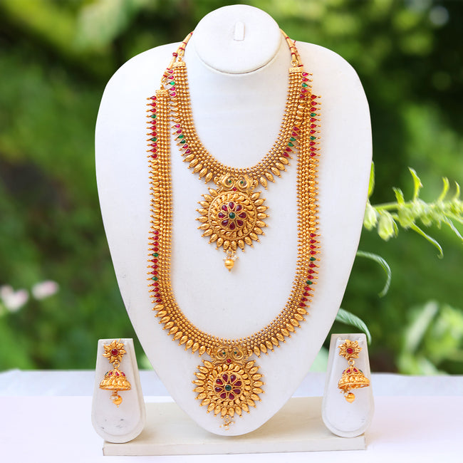 Style South Indian Look Gold Plated Haram Semi Baridal Necklace Set