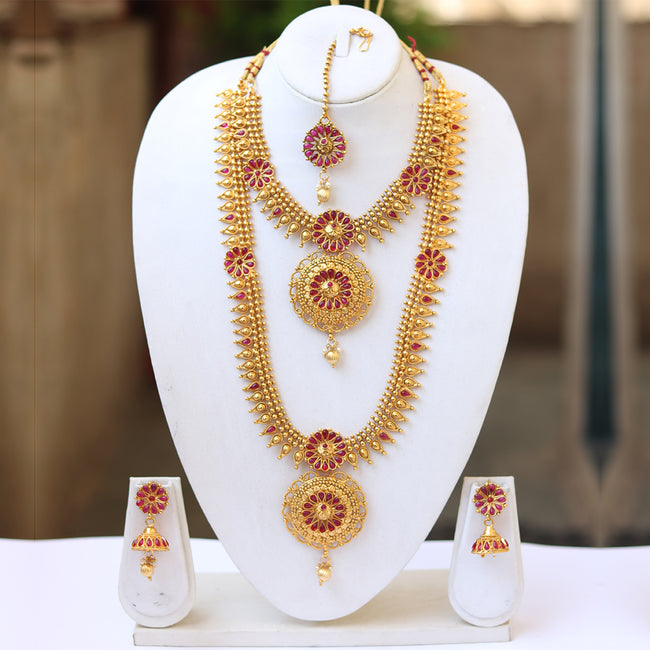 Style South Look Gold Plated Haram Semi Baridal Necklace Set