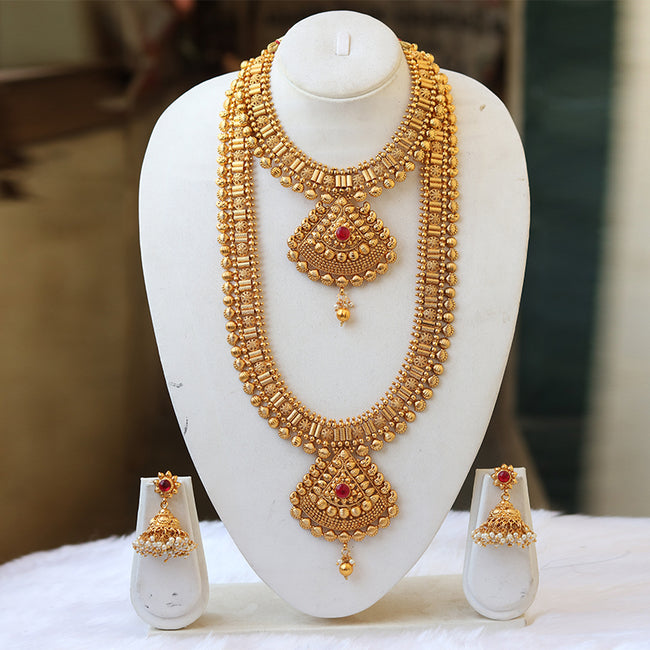 Traditional Gold Plated Haram Semi Baridal Necklace Set