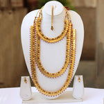 3 layers Coin Gold Plated Haram Semi Haram Baridal Necklace Set