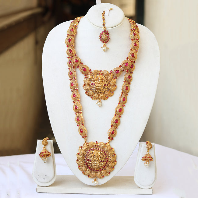 South Indian Laxmi Gold Plated Ruby Haram Necklace Set