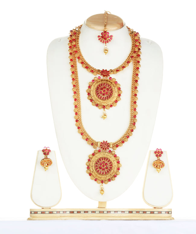 Attractive Design Maroon Color Haram Set For Women