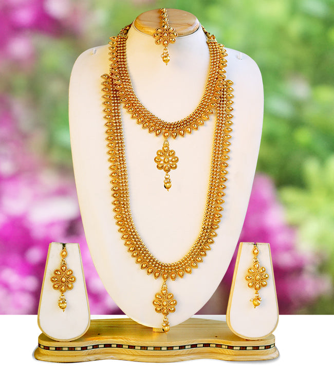 Golden Color Haram Set For Women