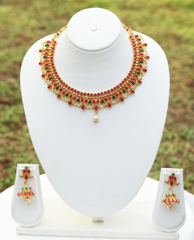 Multicolor Peacock Design Short Necklace Set