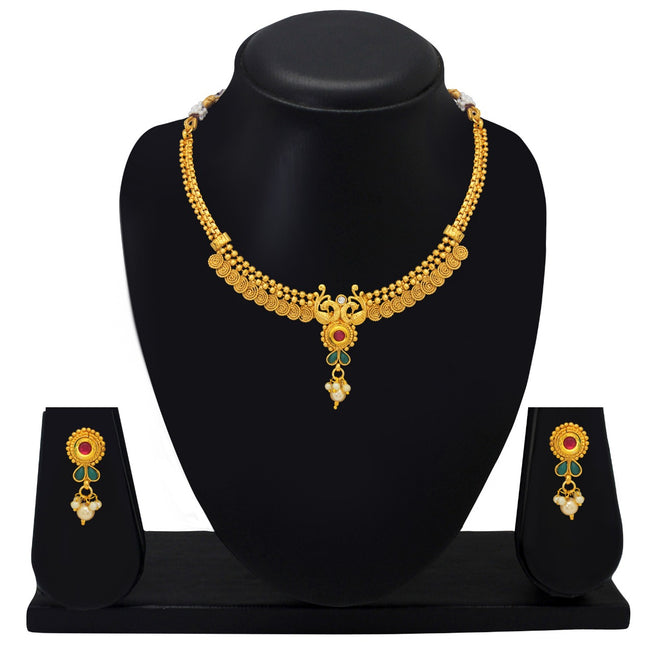 Gold Plated Antique Short Necklace Set
