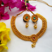 Traditional Gold Plated Short Necklace For Women