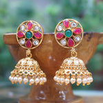 Hanging Gold Plated Green Maroon Traditional Wear Pearl Jhumki Earring