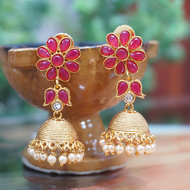 Hanging Gold Plated Traditional Wear Pearl Jhumki Earring