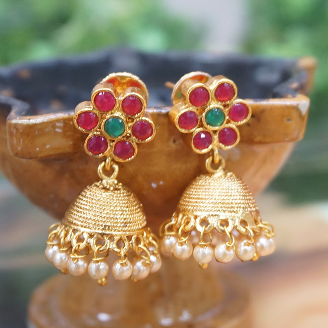 Small Gold Plated Traditional Wear Pearl Jhumki Earring