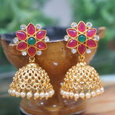 Antique Gold Plated Party Wear Traditional Green Maroon With Pearl Jhumki Earring