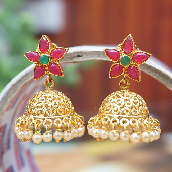 Antique Gold Plated Party Wear Traditional Pearl Jhumki Earring