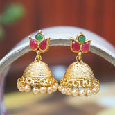 Latest Antique Gold Plated Traditional Small Pearl Jhumki Earring