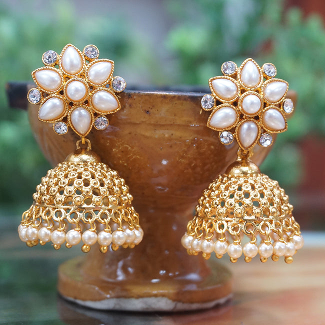 Latest Antique Gold Plated Party Wear Traditional Pearl Jhumki Earring
