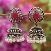 Ruby Color Oxidized Earring