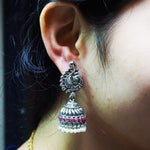 Silver Plated Oxidized Earring Set For Women
