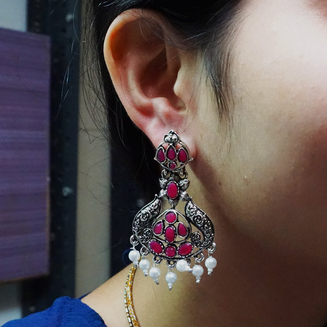 Unique Design Maroon Color Earring