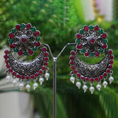 Oxide Plating Green Maroon Dangler Earring