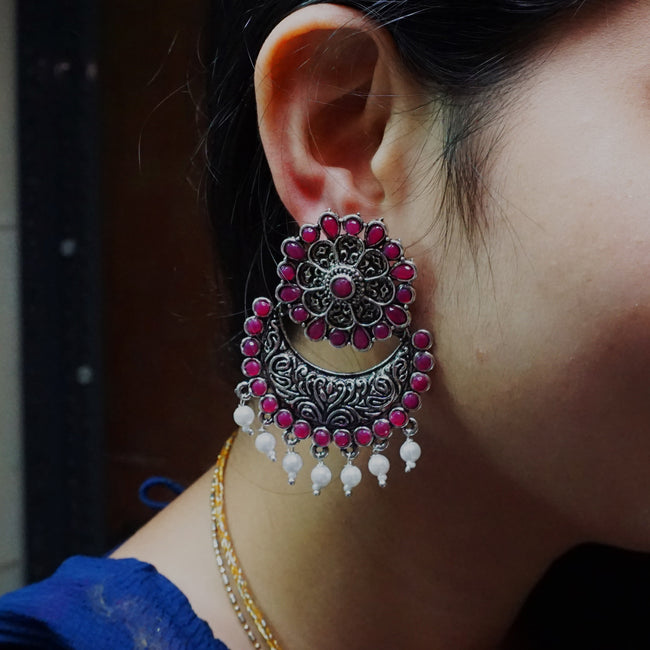 Maroon Color Attractive Earring Set